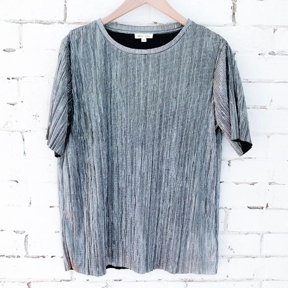 BDG Tops - Urban Outfitters Metallic Silver Textured Tee - M